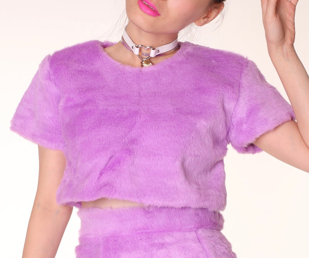 Image of Gigi Faux Fur Crop Top in Purple  (Top Only)