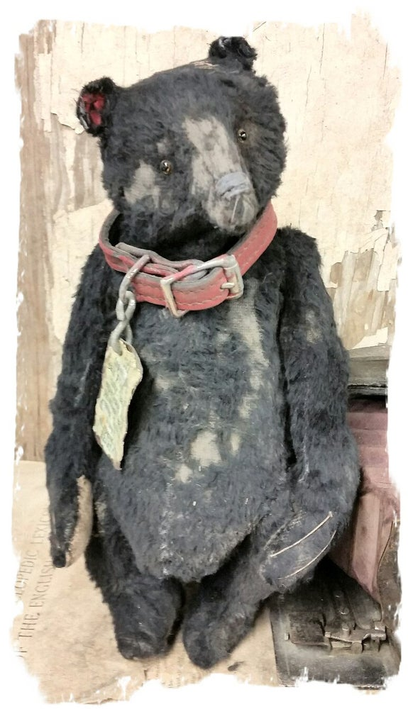 "Image of Tattered & Worn - 11.5"" Black Bear with vintage red leather collar- By Whendi's Bears"
