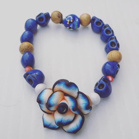 Image of Dia De Los Muertos~ Howlite Skull Bracelet with wood