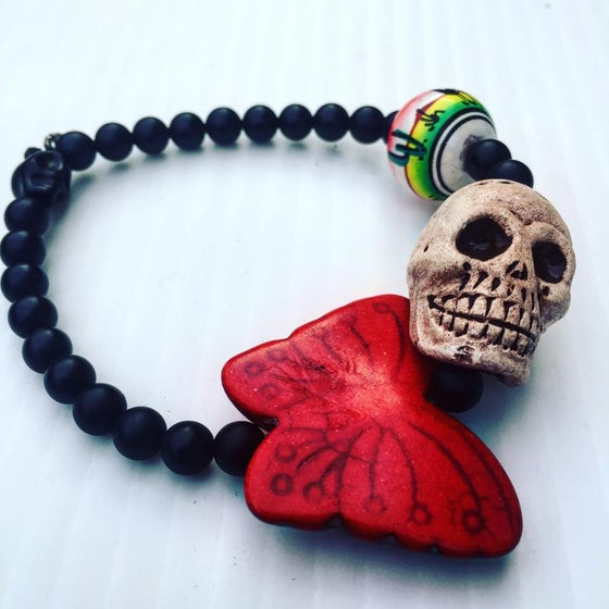 Image of Dia De Los Muertos~ Butterfly Skull Bracelet, Howlite and Onyx and Hand Painted Bead