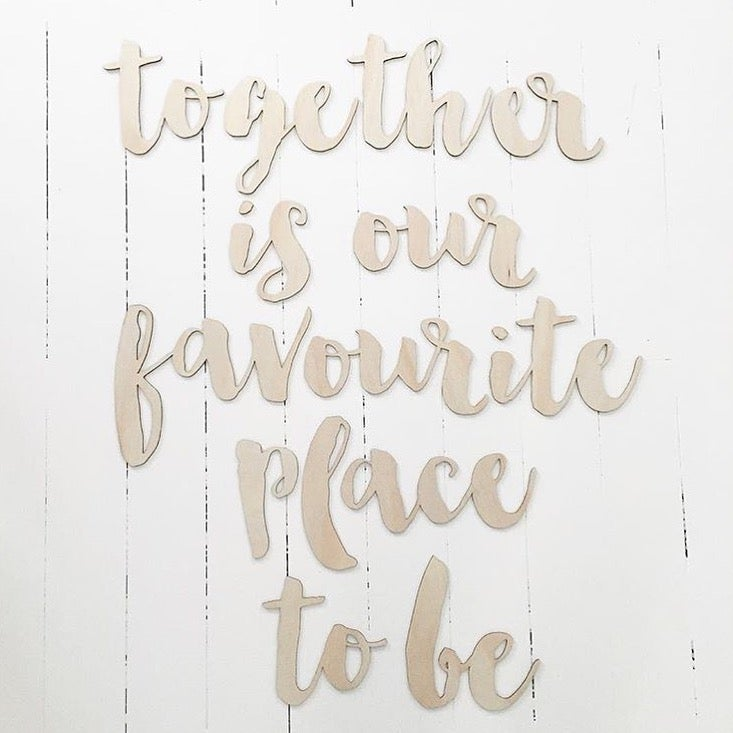 Image of 'TOGETHER' TIMBER WALL PHRASE