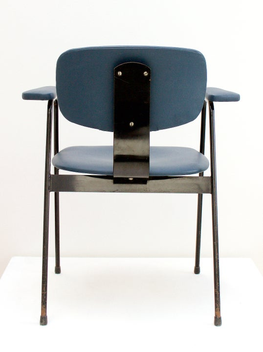 Image of Blue Leather Desk Chair by Van Der Meeren