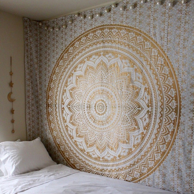 Image of Champagne Mandala Tapestry