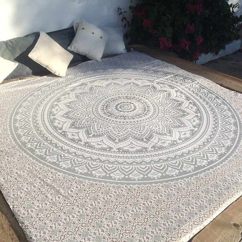 Image of Argent Mandala Tapestry