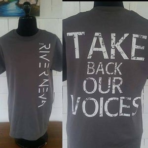 Image of 'Take Back Our Voices' White on Gray Shirt