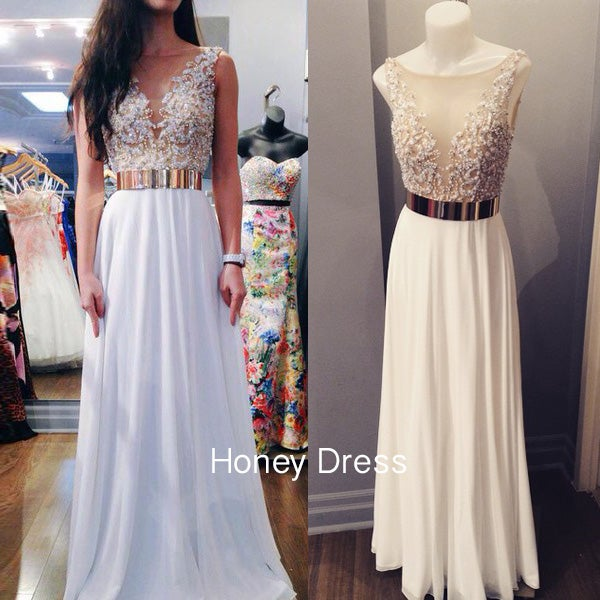 Image of White Chiffon illusion Neck Prom Dress With Beaded Bodice And Open Back