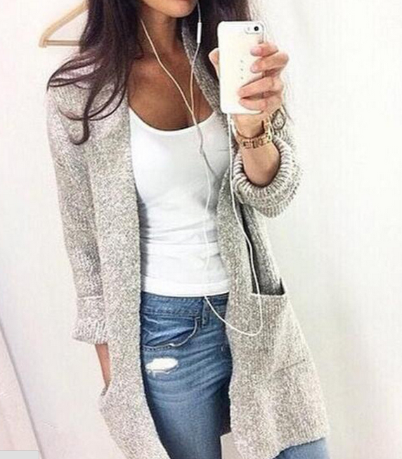 Image of Long sleeve cardigan coat color fashion casual sweater coat