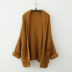 Image of Loose volume bat sleeve, sleeve, the long knit sweater cardigan increasing female coat