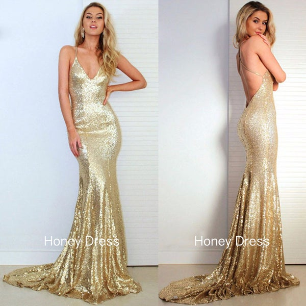 Image of African Gold Sequins Prom Dress, Deep V-neck Mermaid Prom Gown