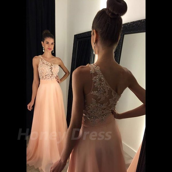 Image of New Arrival Chiffon One-shoulder Beaded long Prom Party Dress With Lace Appliques