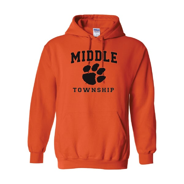 Image of Hooded Sweatshirt w/ Athletic Logo (Orange)
