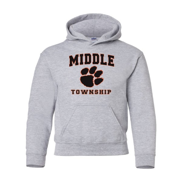 Image of Youth Hooded Sweatshirt w/ Athletic Logo (Gray)