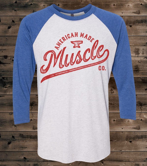 Image of Varsity - Unisex Baseball Tee - White w/ Heather Blue Sleeves