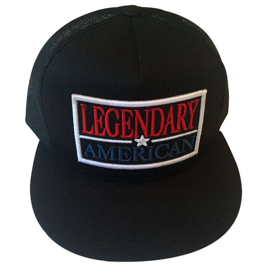 Image of Legendary American Patch Flexfit Trucker in Red, White, and Blue