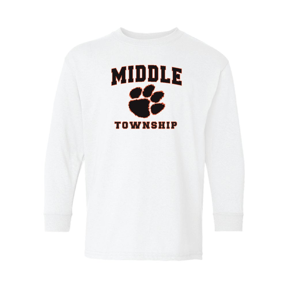 Image of Youth Longsleeve T-Shirt w/ Athletic Logo (White)
