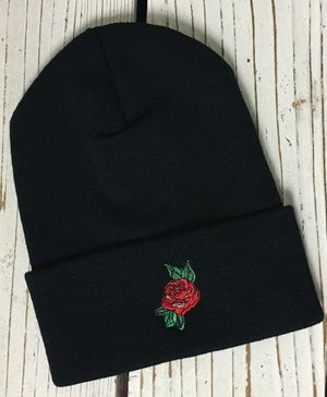 Image of Wholesale - One Dozen RED ROSE Embroidered Beanie Cuffed Cap