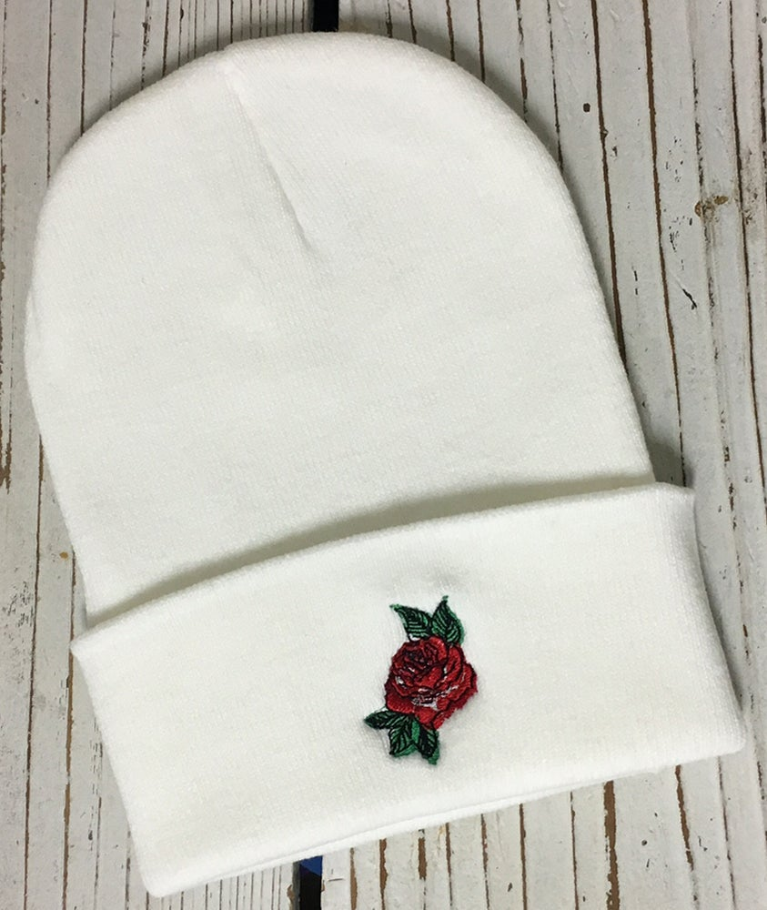... Image of Wholesale - One Dozen RED ROSE Embroidered Beanie Cuffed Cap