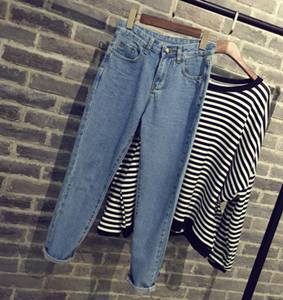 Image of Cotton pencil pants casual denim pantyhose