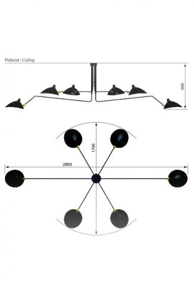 Image of Serge Mouille Style 6 Arm Ceiling Lamp - Plafonnier 6 Bras pivotants