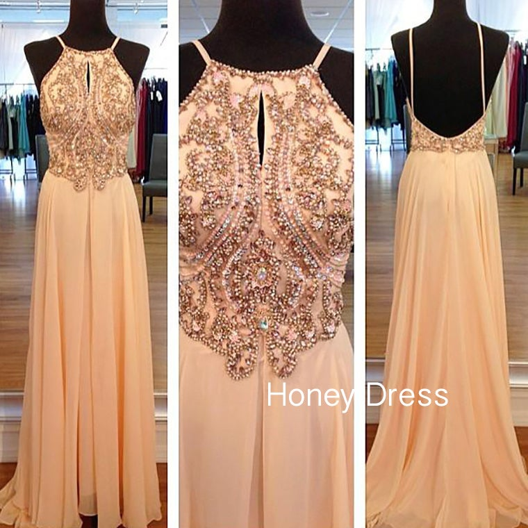 Image of Nude Chiffon Halter Prom Dress, Spaghetti Strap Evening Gown With Beaded Bodice