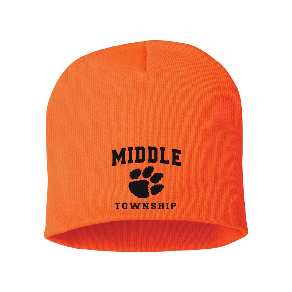 Image of Knit Beanie w/ Embroidered Athletic Logo (Orange)