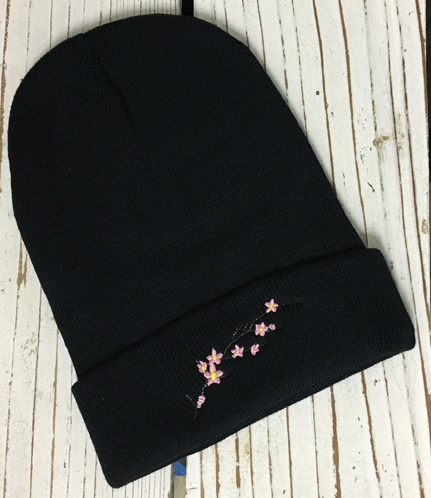 Image of Wholesale - 1 Dozen CHERRY BLOSSOM Embroidered Beanie Cuffed Cap  ...