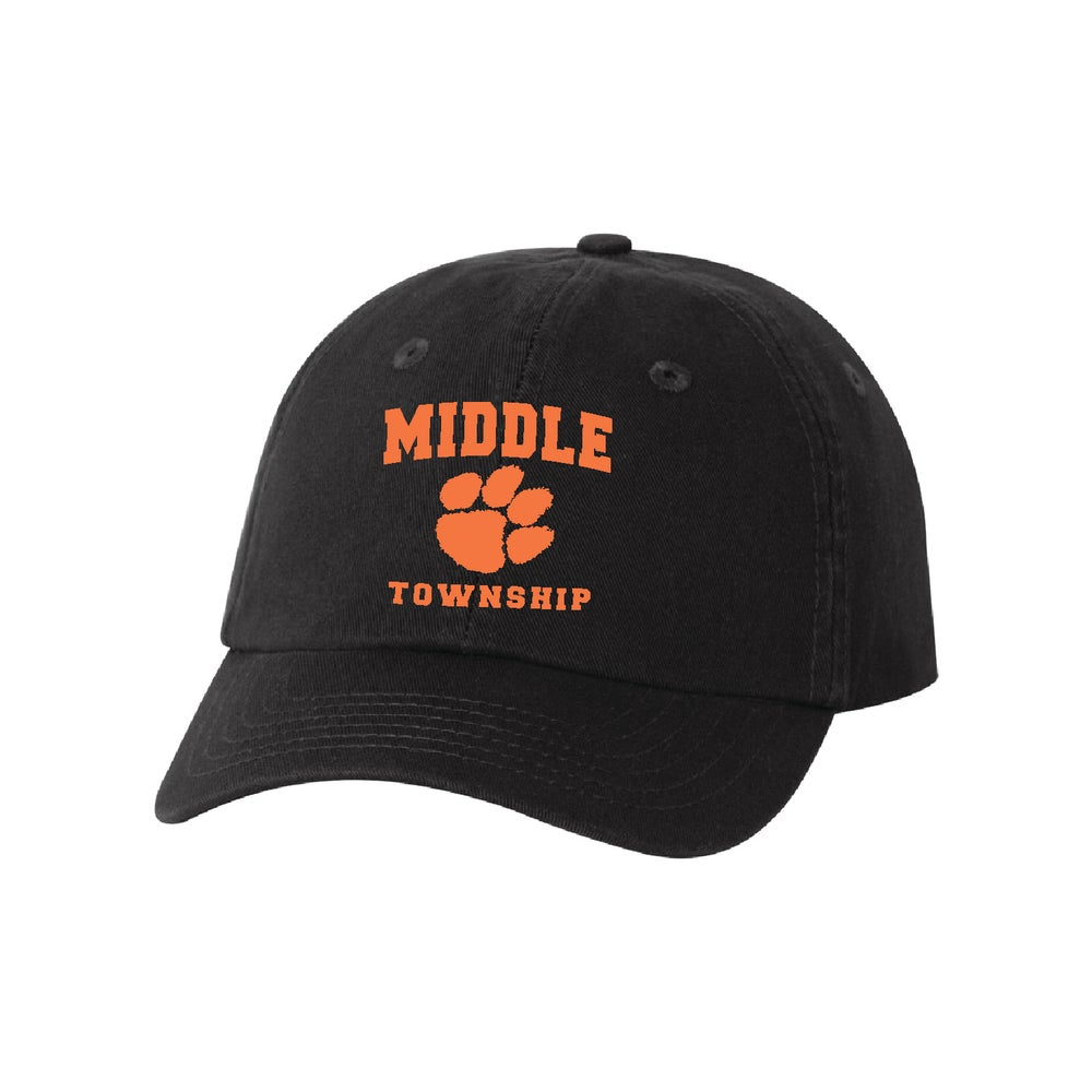 Image of Youth Baseball Cap w/ Embroidered Athletic Logo (Black)