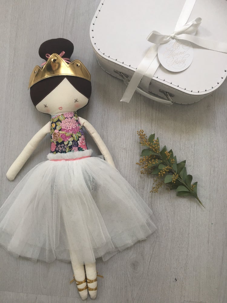 Image of Alimrose Gold Crown and white tulle skirt 40cm Dolly and Large white suitcase