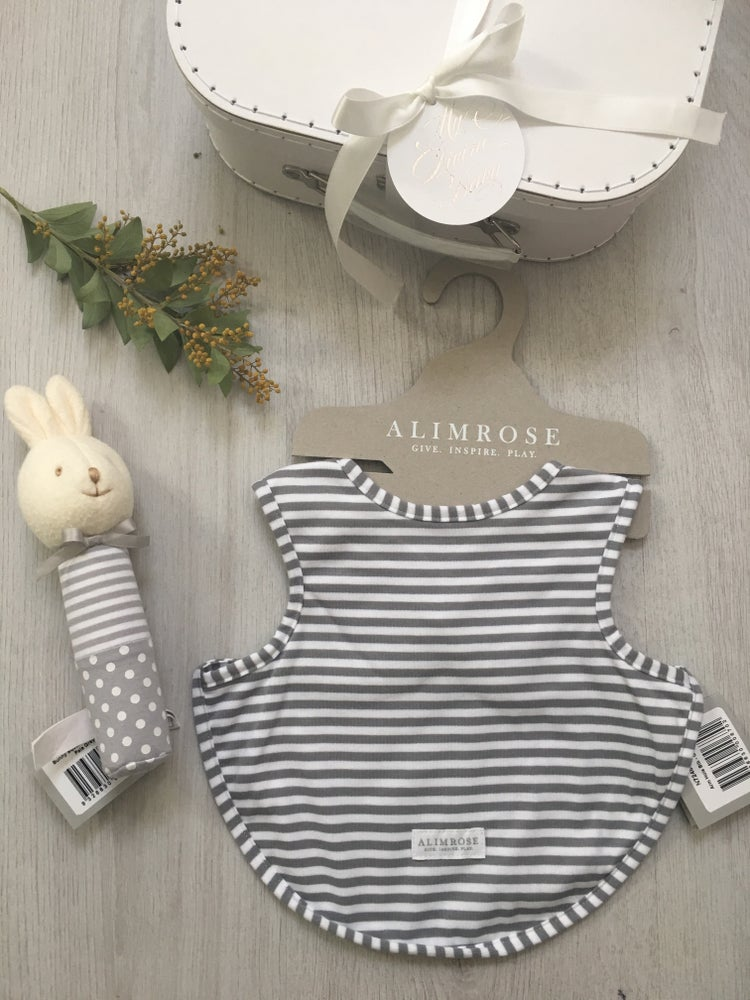 Image of Grey and white stripe Hamper