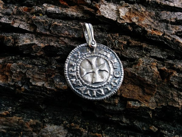 Image of Crusader 'Cross and Castle' Penny Pendant