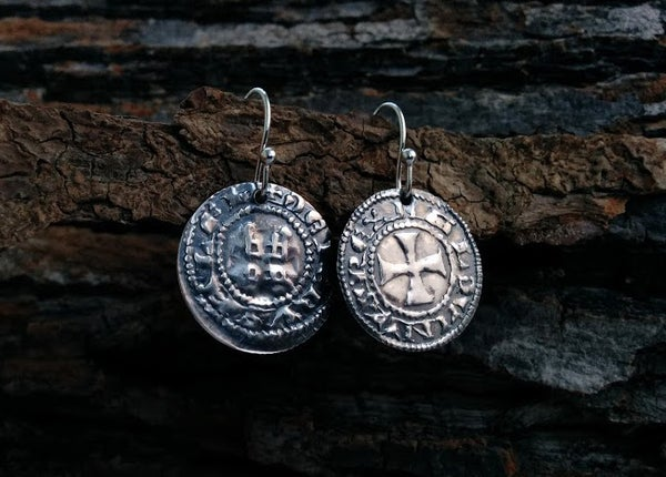 Image of Crusader 'Cross and Castle' Penny Earrings