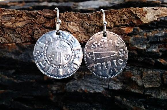 Image of Viking 'Hammer and Sword' Pennies of York Earrings