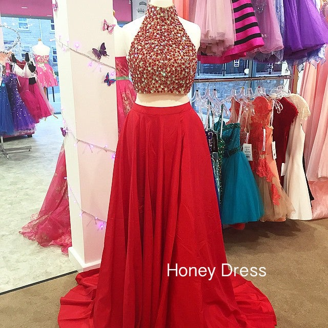 Image of Two Piece Prom Dress With Beaded Bodice, Chiffon A-line Prom Dress, Sweep Train Halter Prom Gown