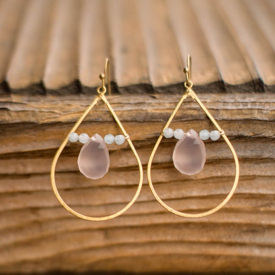 Image of Chalcedony Teardrop Earrings
