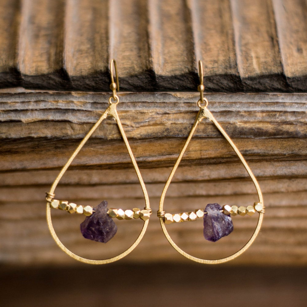 Image of Amethyst Teardrop Earrings