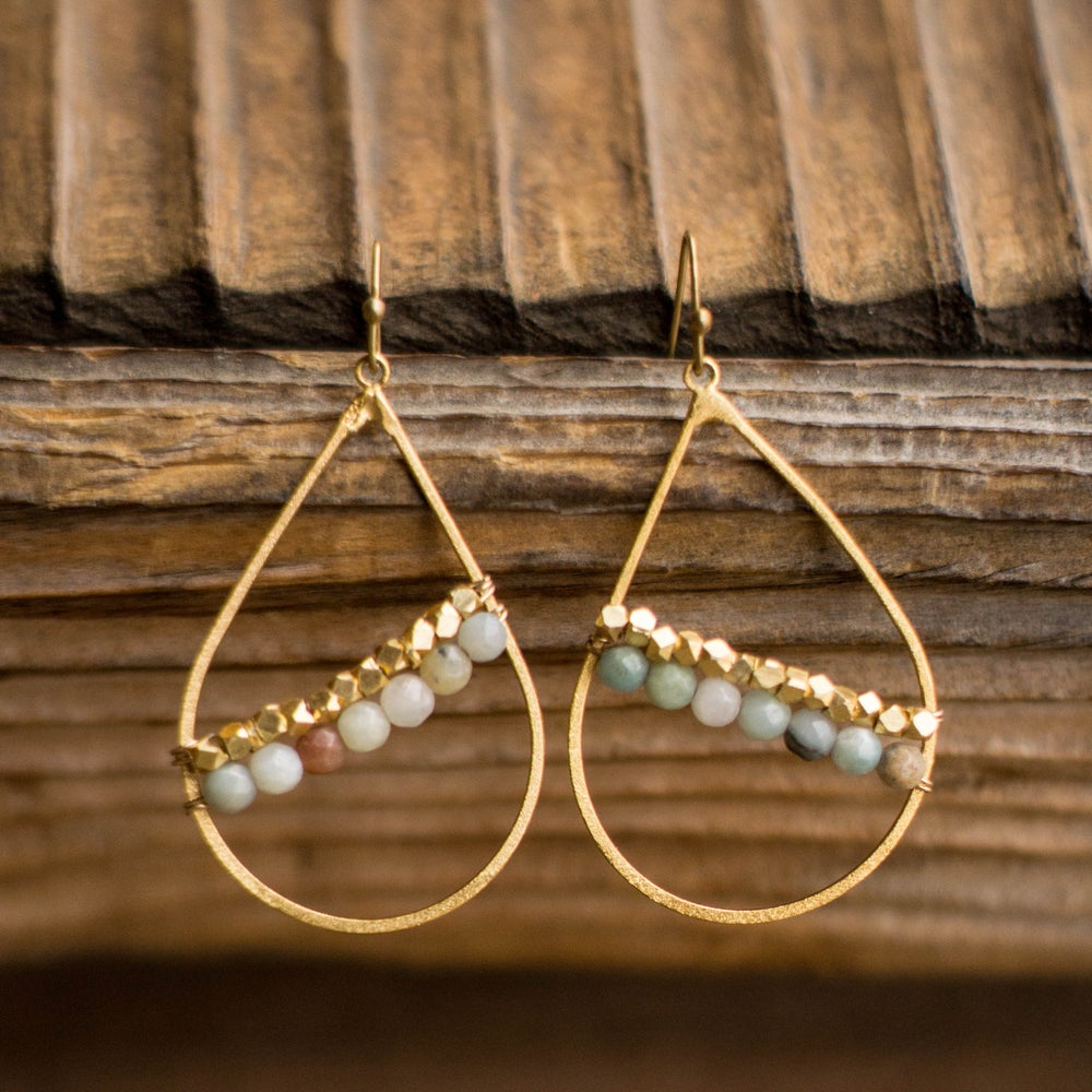 Image of Double Band Teardrop Earrings