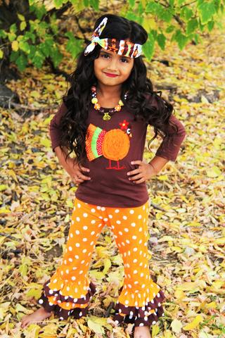 Image of Bella Brown Turkey Ruffle Pant Set, Baby, Toddler, Girl, Thanksgiving, Holiday photos