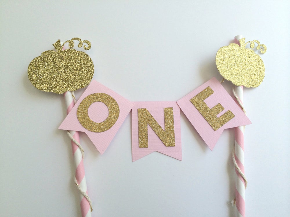 Image Of Pumpkin Pink And Gold Cake Bunting Banner 1st Birthday Little