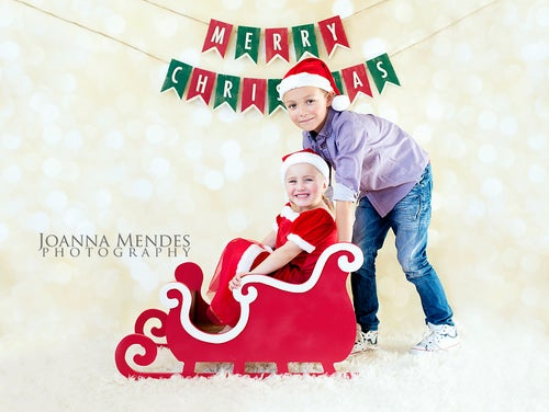 Image of Beautiful WHITE or RED Santa Sleigh Christmas/Winter Photography Prop