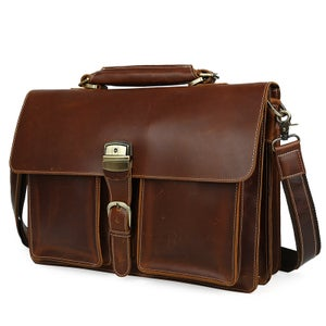 "Image of Men's Handmade Leather Briefcase / Messenger / 15"" MacBook 14"" 15"" Laptop Bag (n47-4)"