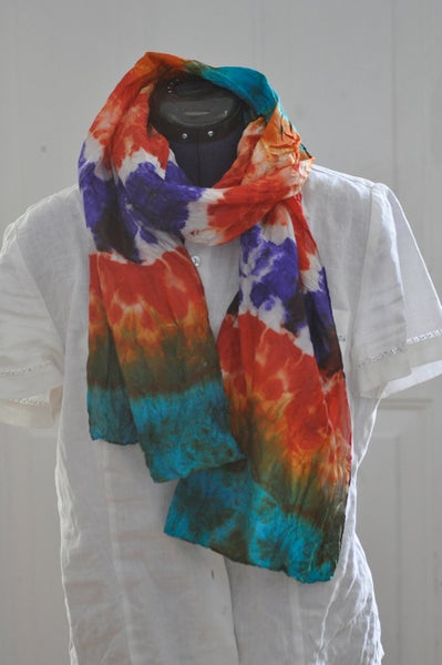 Image of Striped Silk Habotai Scarf