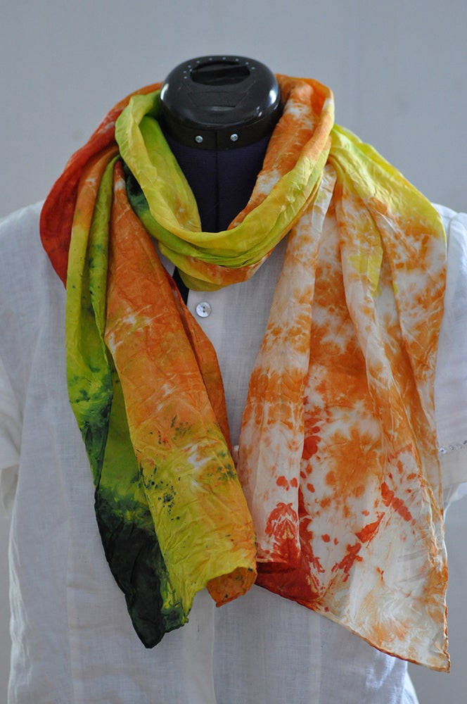 Image of Bright Shibori Dyed Habotai Scarf