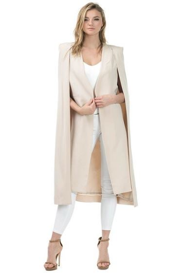 Image of Khaki Long Cape Blazer
