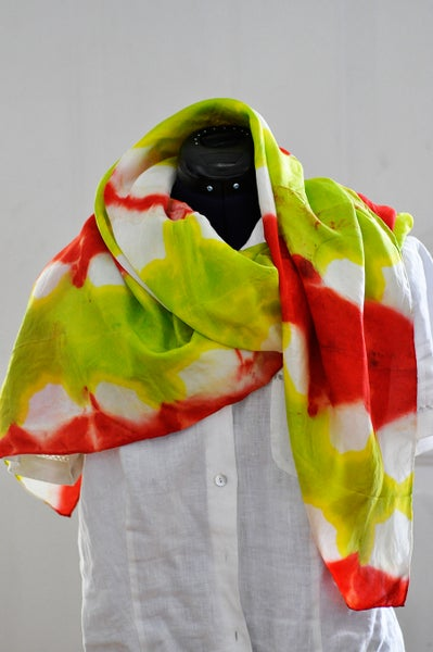 Image of Red and Green Apple Shibori Silk Scarf