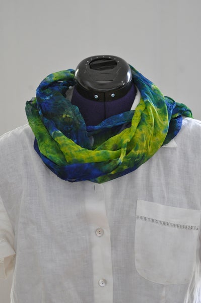Image of Blue and Green Silk Chiffon Shibori Dyed Scarf