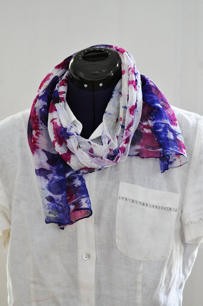 Image of Small Purple and Fuschia Silk Chiffon Shibori Dyed Scarf