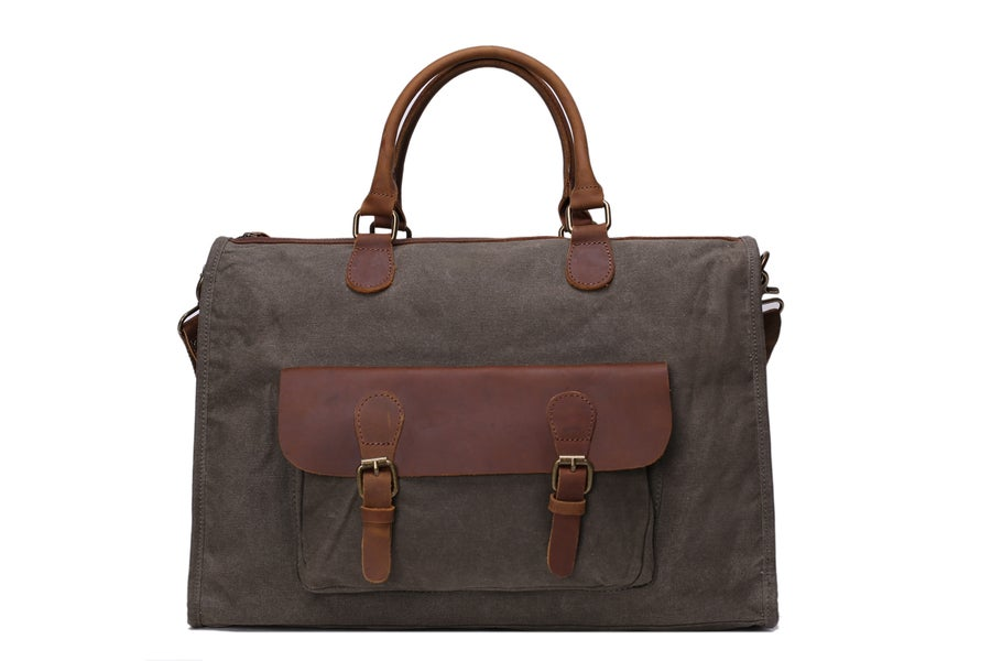 Image of Waxed Canvas Leather Messenger Bag, Laptop Briefcase, Shoulder Bag YD2167