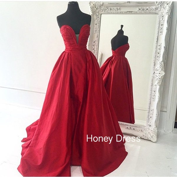 Image of Red Strapless Prom Dress, Satin A-line Prom Dress,V-Back Pleats Ruching Prom Dress
