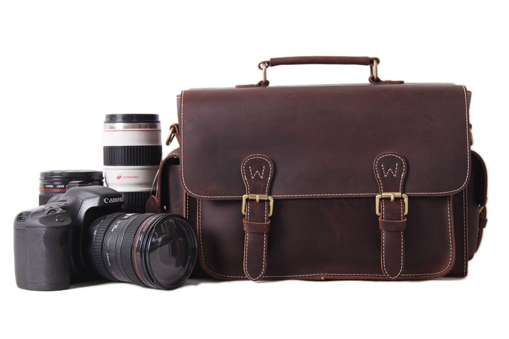 Image of Vintage Genuine Leather DSLR Camera Bag SLR Camera Bag Leather Camera Bag 6919