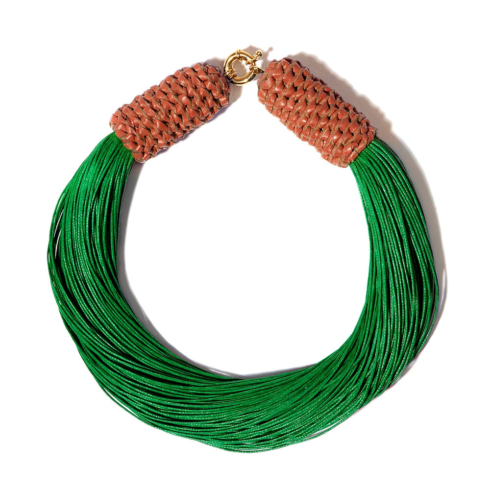 "Image of ""Tropics"" Green & Terracotta Neckpiece"